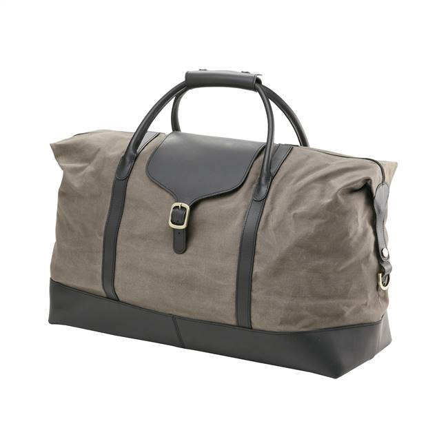 Waxed Canvas & Leather Buckle Weekender in Grey