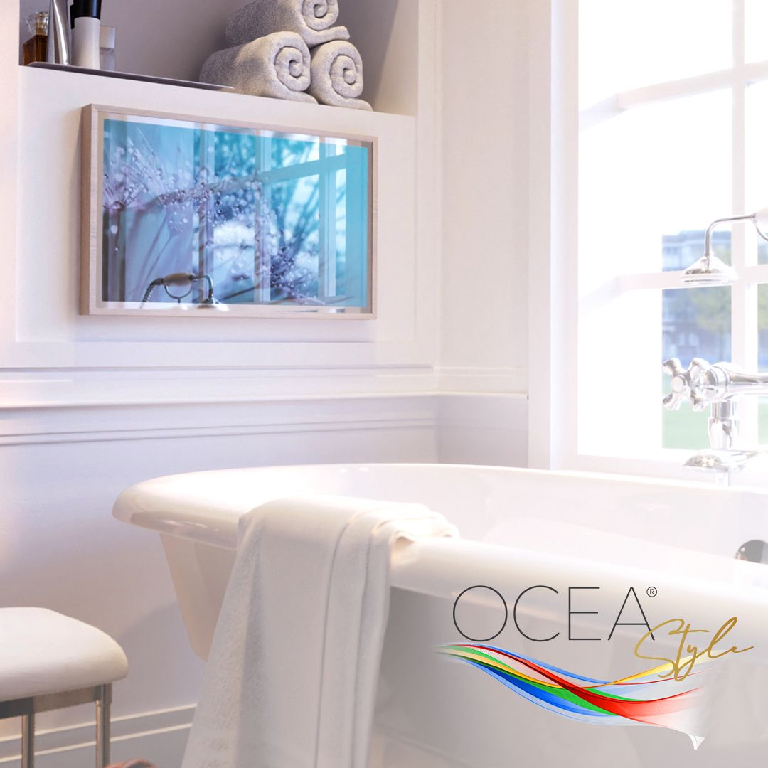 OCEA Style Bathroom TV installed near the bathtub