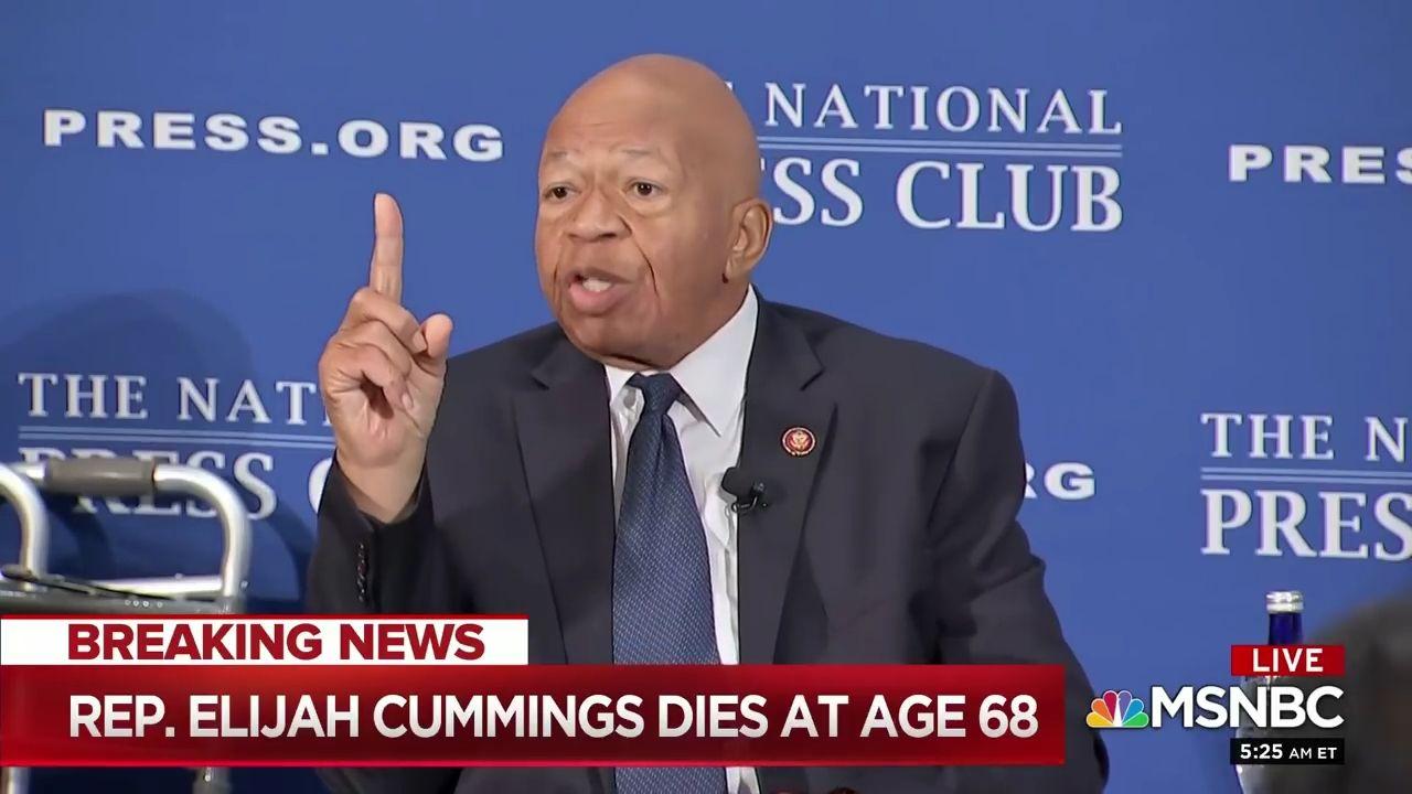 Screen shot of MSNBC Coverage of Representative Elijah Cummings