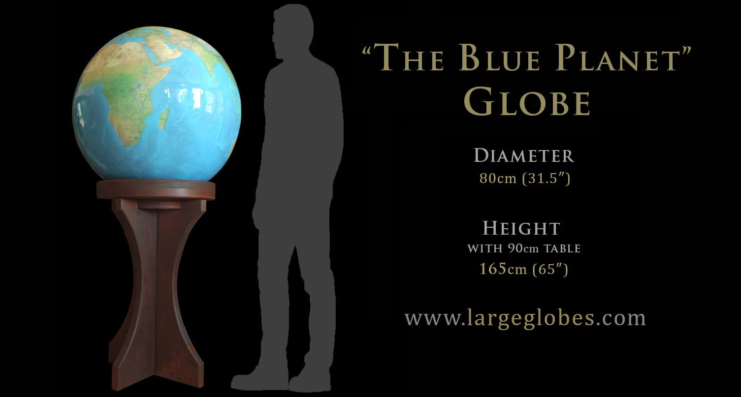 Large World Globes' 'Blue Planet' is an accurate topographical globe