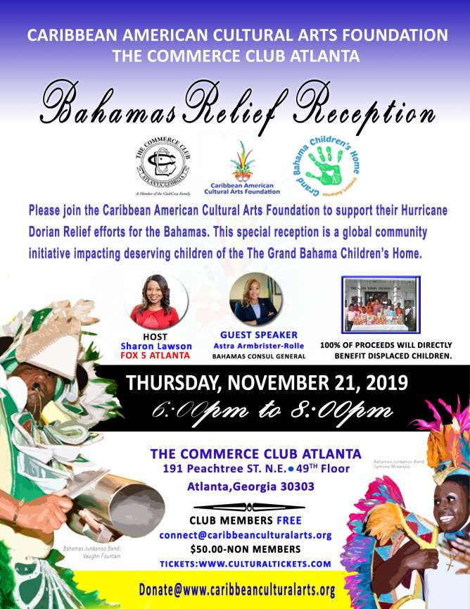 Bahamas Relief Reception, Thursday Nov. 21, 2019 at 6p.m.