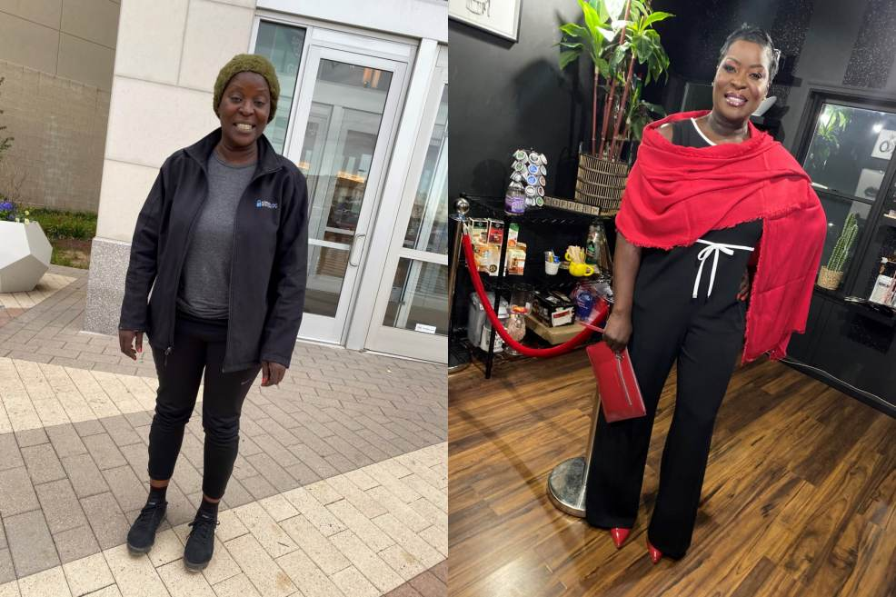 Before and After of Nakia Autry Haynes. She received a full day of pampering.