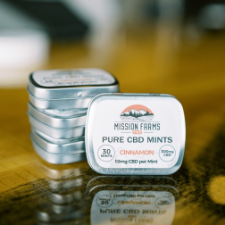 Pure CBD Mints from Mission Farms CBD, now available in 10-mint or 30-mint tins