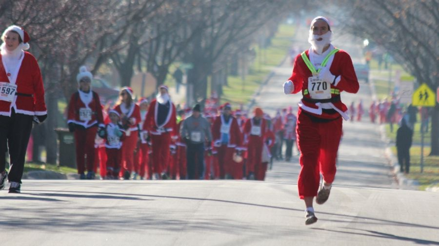 Participate in a community event that gives back, like the Santa Run.