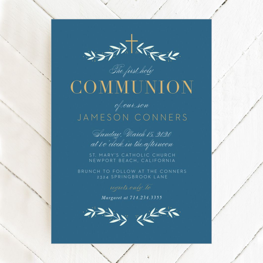 Pictured; a simple communion invitation available through Basic Invite.