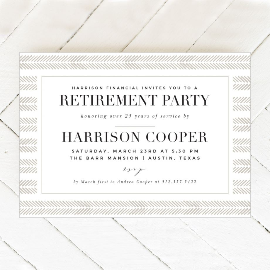 Pictured; a horizontal retirement invitation made by Basic Invite.