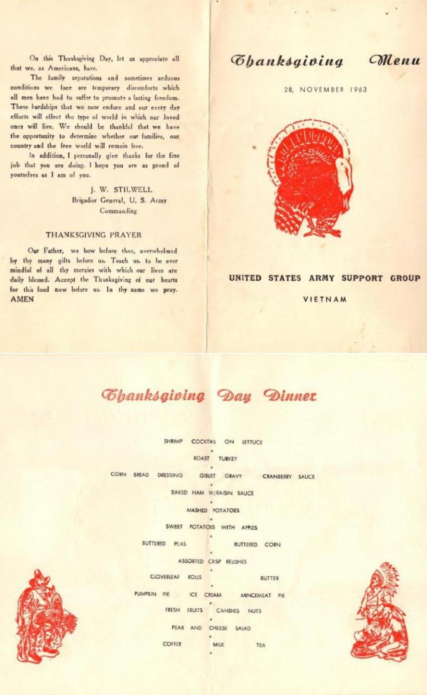 November 28, 1963 Thanksgiving Menu-Vietnam War
