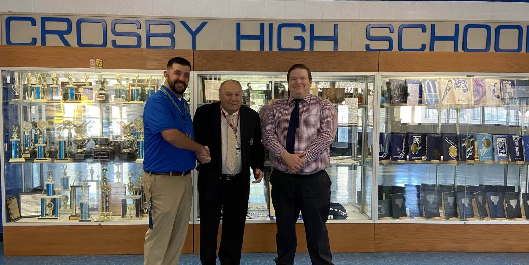 IMTI Founder (center) Marcel Veronneau visited Crosby High School