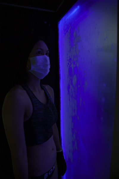 A view from inside FICS' whole body electric cryotherapy chamber.