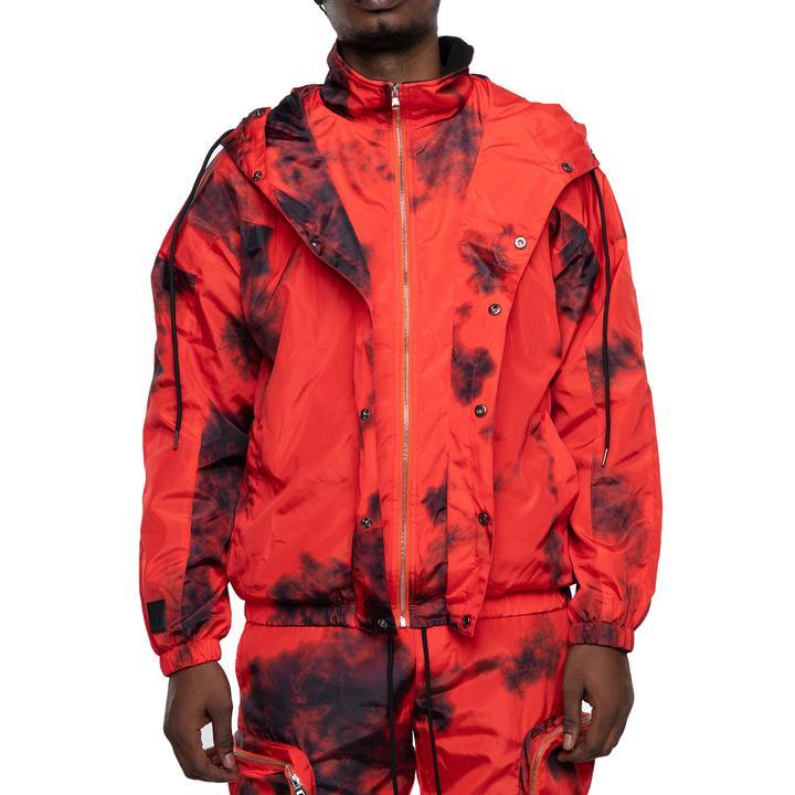 EPTM's red tie dyed nylon jacket