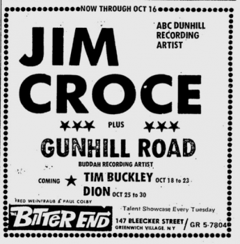 Jim Croce at The Bitter End - October 12, 1972