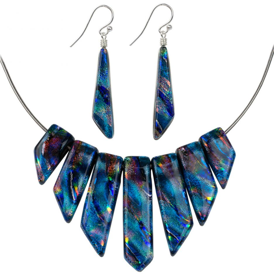 Jasmine Rainbow Blue Dichroic Glass Hypoallergenic Necklace Set
