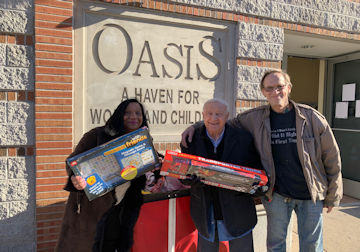 Delivering toys to Oasis