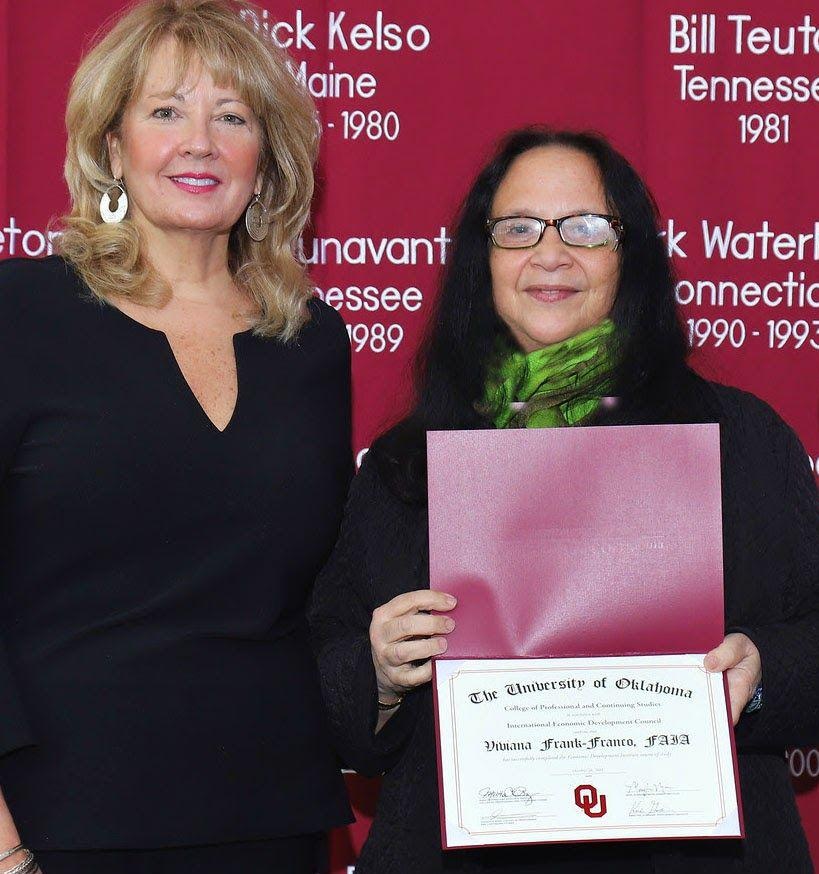 Pictured: Mary Ann Moon, Dean of OU EDI awarded Viviana L. Frank-Franco