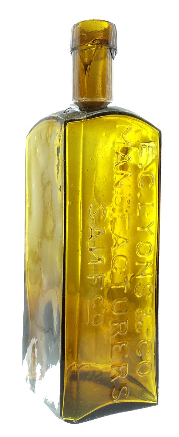 E.G. Lyon's early San Francisco bitters bottle in a yellow amber color.