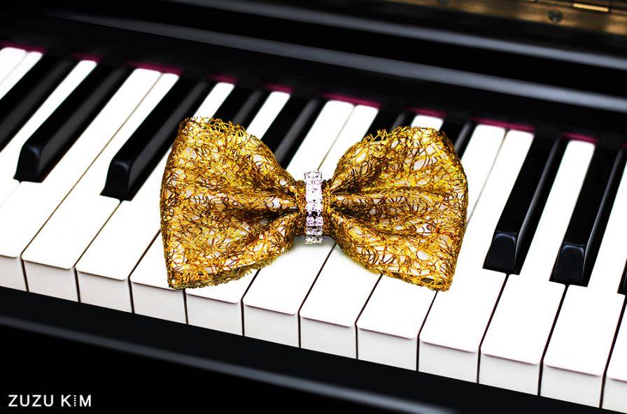 ZuZu Kim Gold Mesh Bow Tie