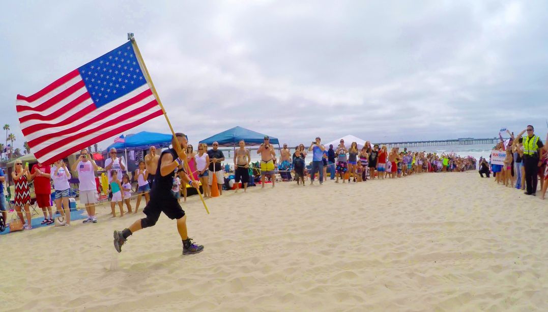 End of Noah Coughlan's 3rd Run across America, July 4, 2015, San Diego, CA