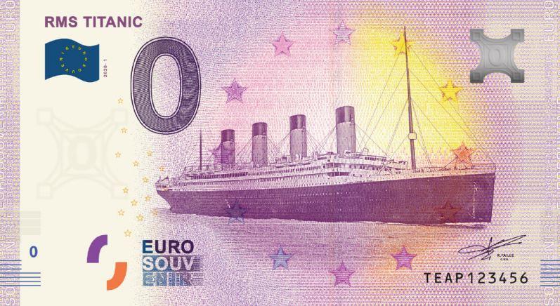 RMS Titanic 0 Euro Souvenir Banknote