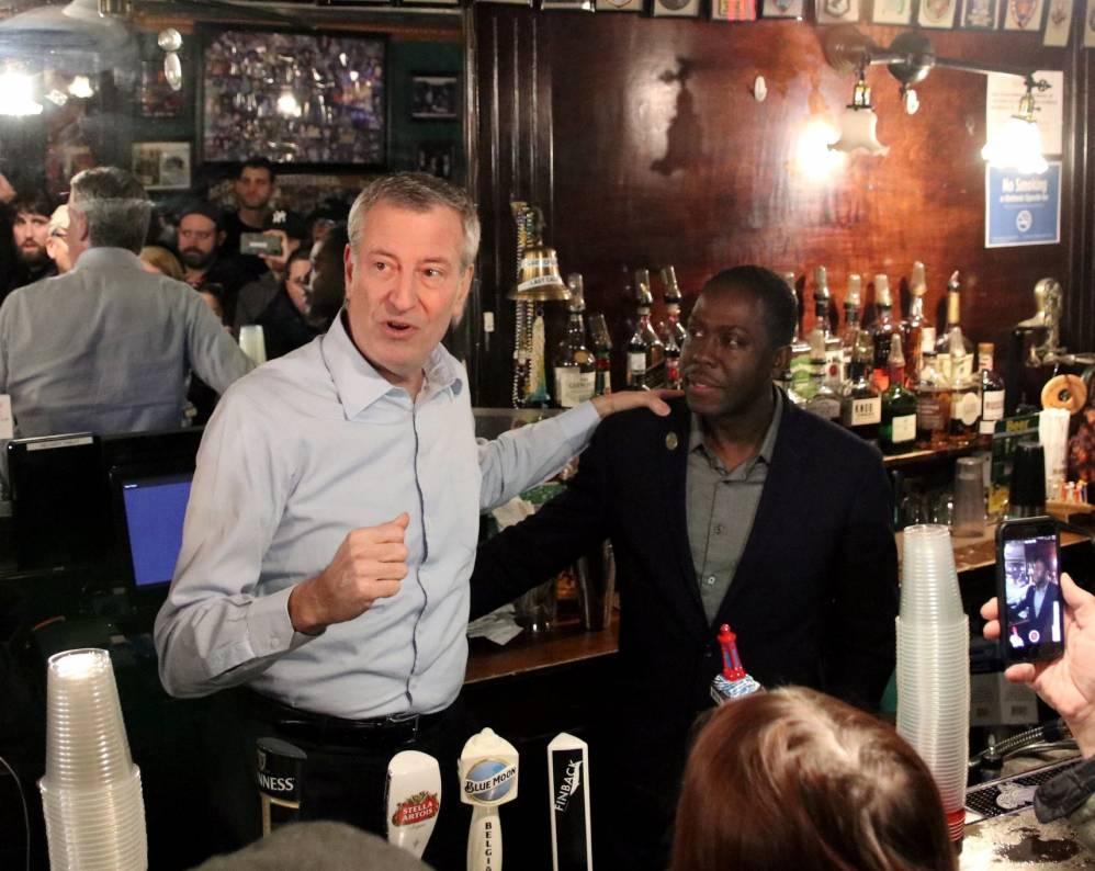 NYC Mayor Bill De Blasio and Neirs Tavern owner Loycent Gordon