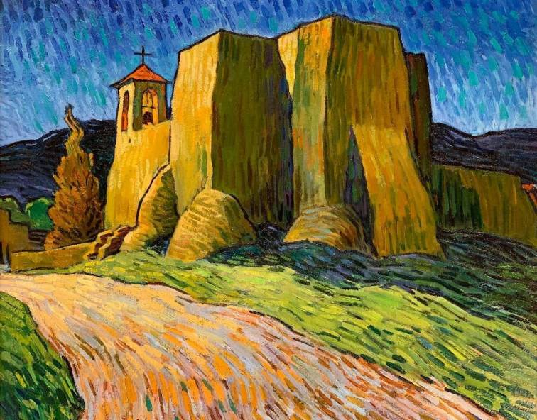 Robert Daughters (NM/AZ, 1929-2013) Ranchos Chapel, oil on canvas, signed.