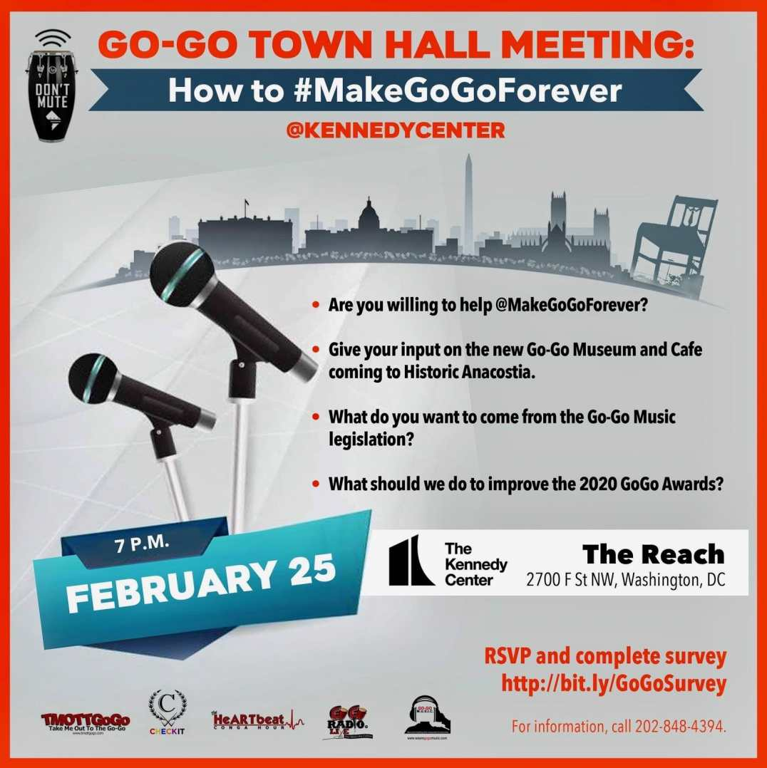 Go Go Town Hall Feb 25 at 7pm at Kennedy Center