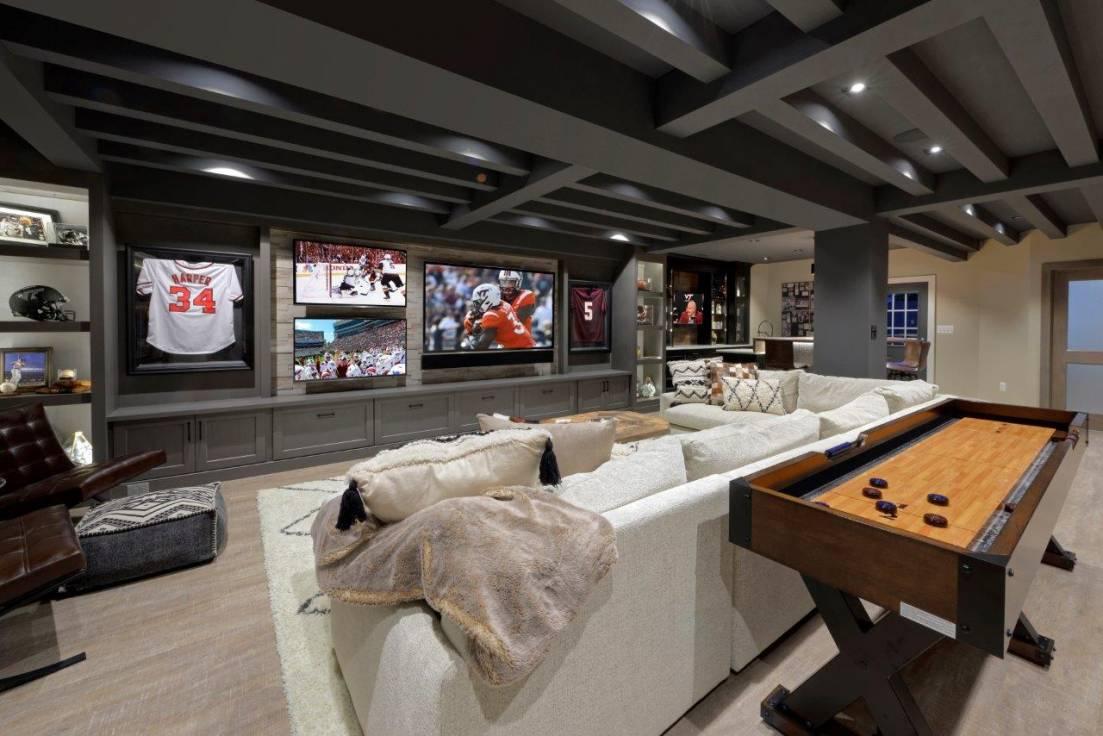 Basement Remodel Ashburn Va with multiple TVs