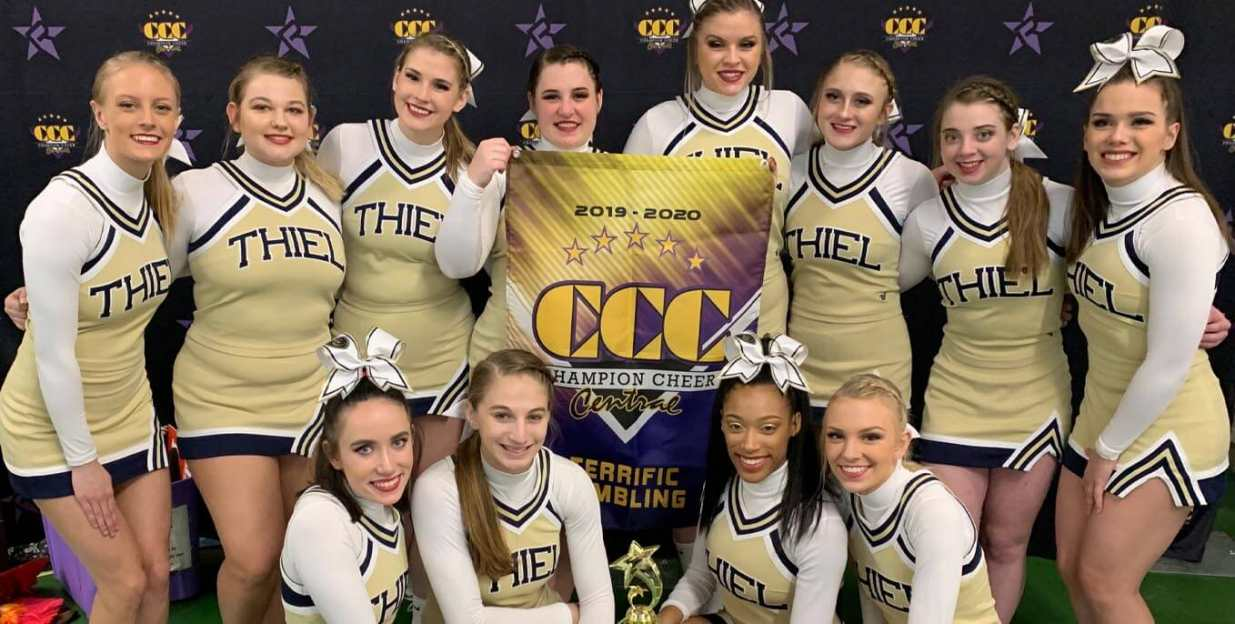 Thiel cheer squad take first at CCC Red Hot