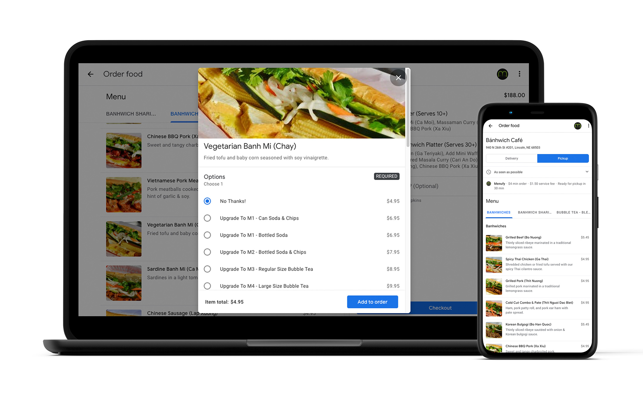 A sample Menufy restaurant on Google Food Ordering
