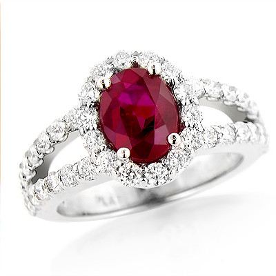 Unique Halo Diamond And Ruby Engagement Ring In Pl