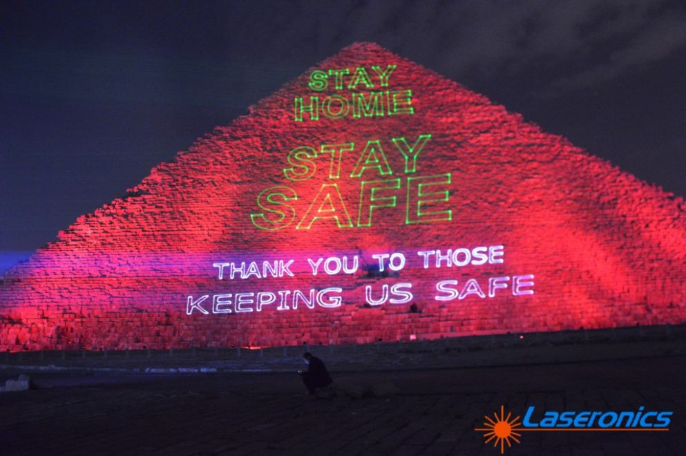 Laseronics projecting core mesage, Pyramids Cairo