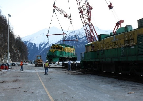 A WP&YR diesel engine is unloaded for shipment.