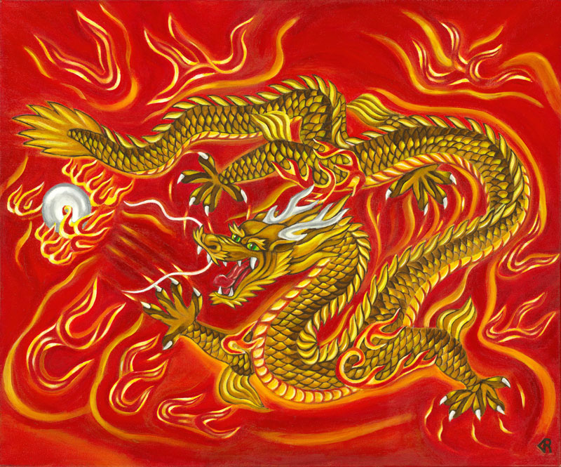 Golden Dragon Chinese Asian Artwork