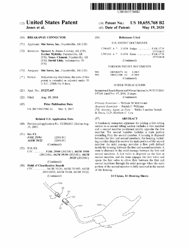 US Patent 10655768B2 Front Page
