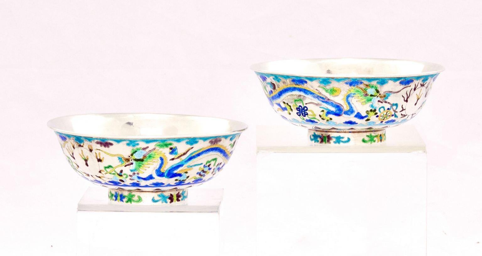 Pair of Chinese enameled silver bowls, post-1950.