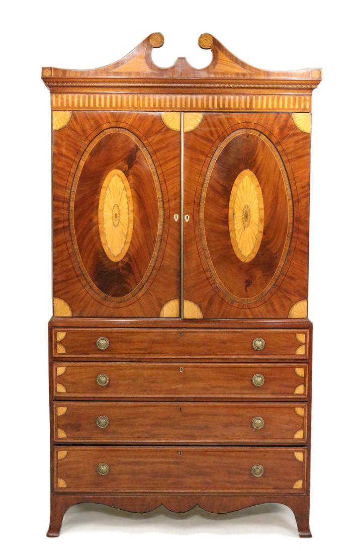 18th cent. George III inlaid mahogany linen press