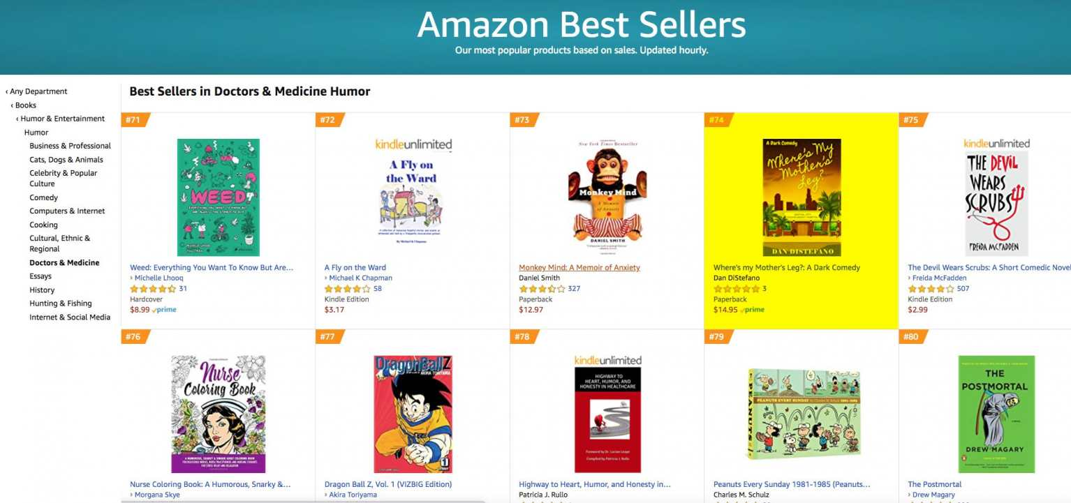 #74 on Amazon Bestseller's List