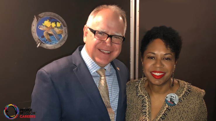 Sharon Smith-Akinsanya with MN Gov. Tim Walz