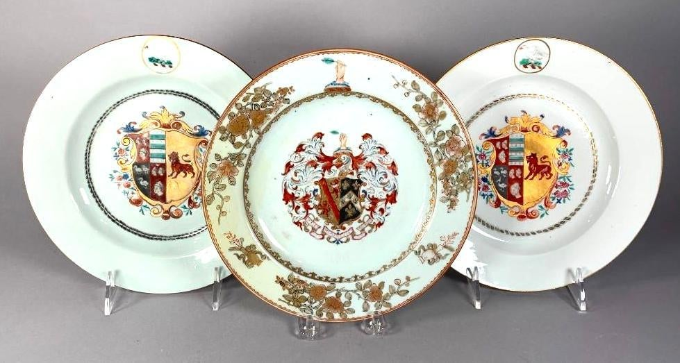 Three beautiful Chinese Export armorial plates.