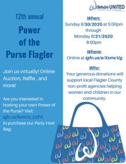 Women United Flagler Fundraiser Aug. 30 & 31.