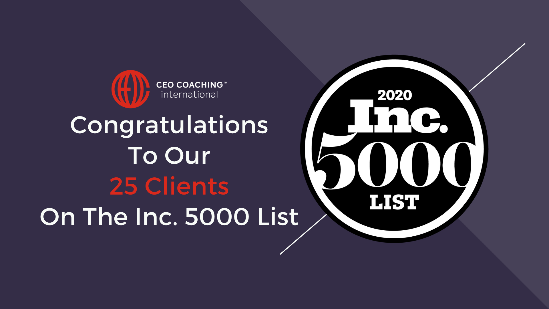 Congrats to the 25 clients on the Inc. 500/5000