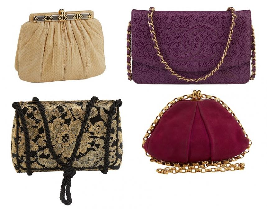 Selection of designer purses plus other couture.