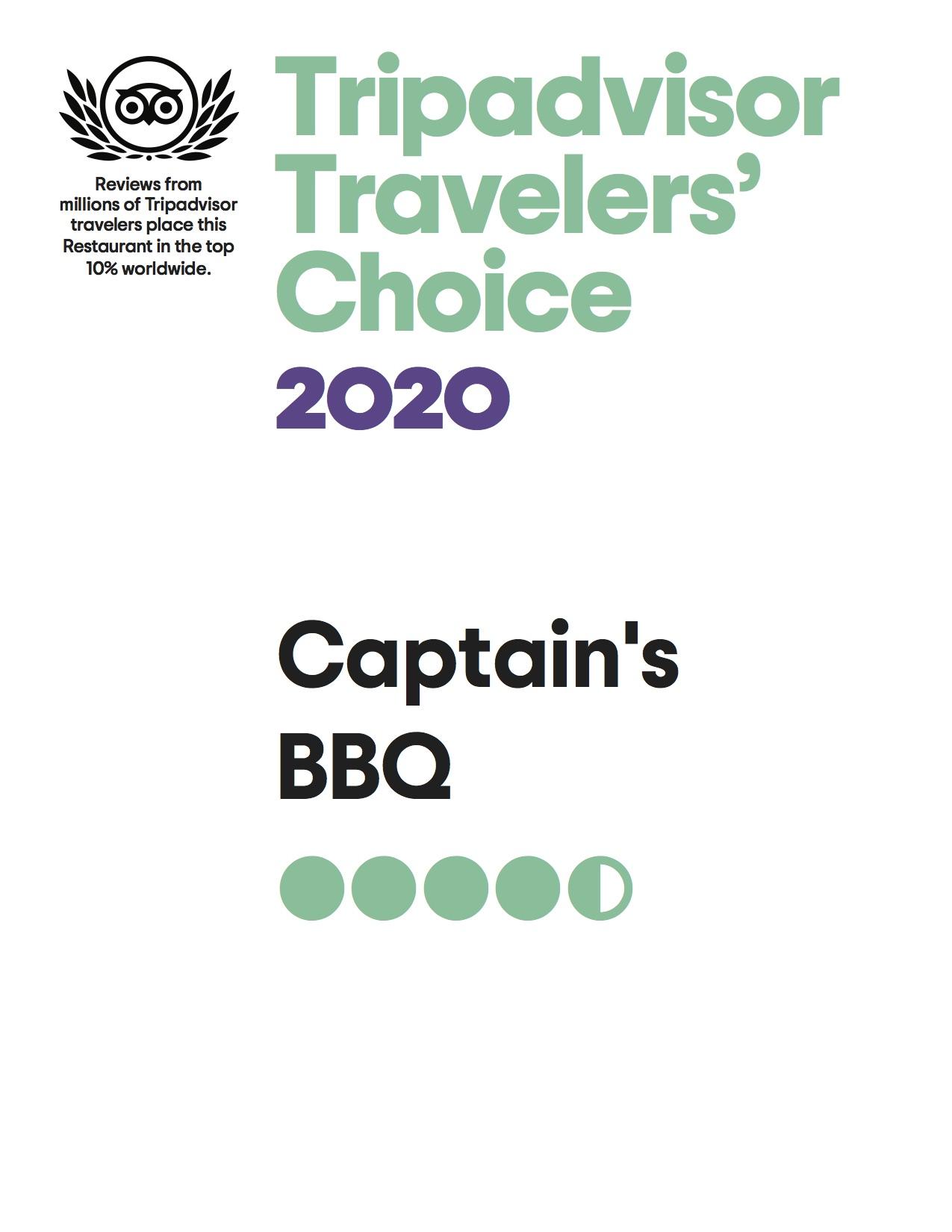 Captain's BBQ Travelers Choice 2020 Award!