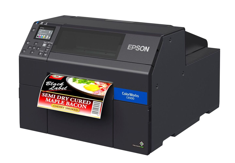 Epson C6500A colour label printer with auto cutter
