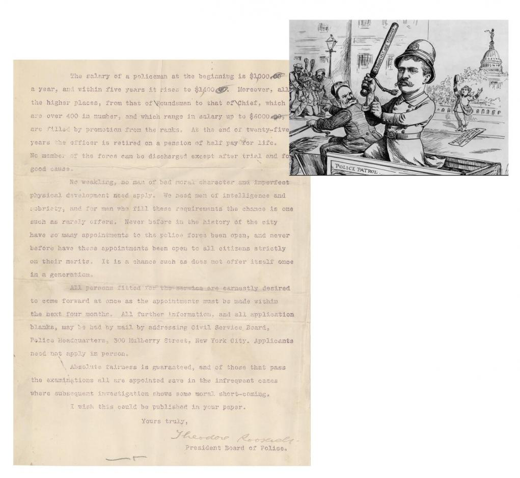 Police press release signed by Theodore Roosevelt.