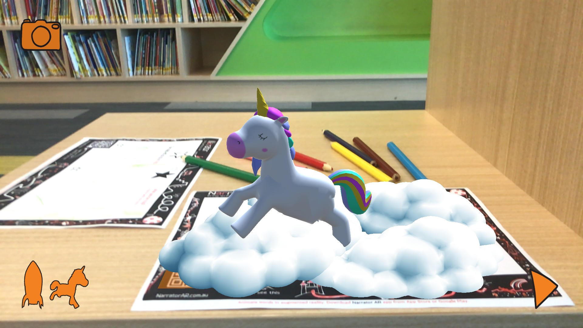 Unicorn creates words off the page