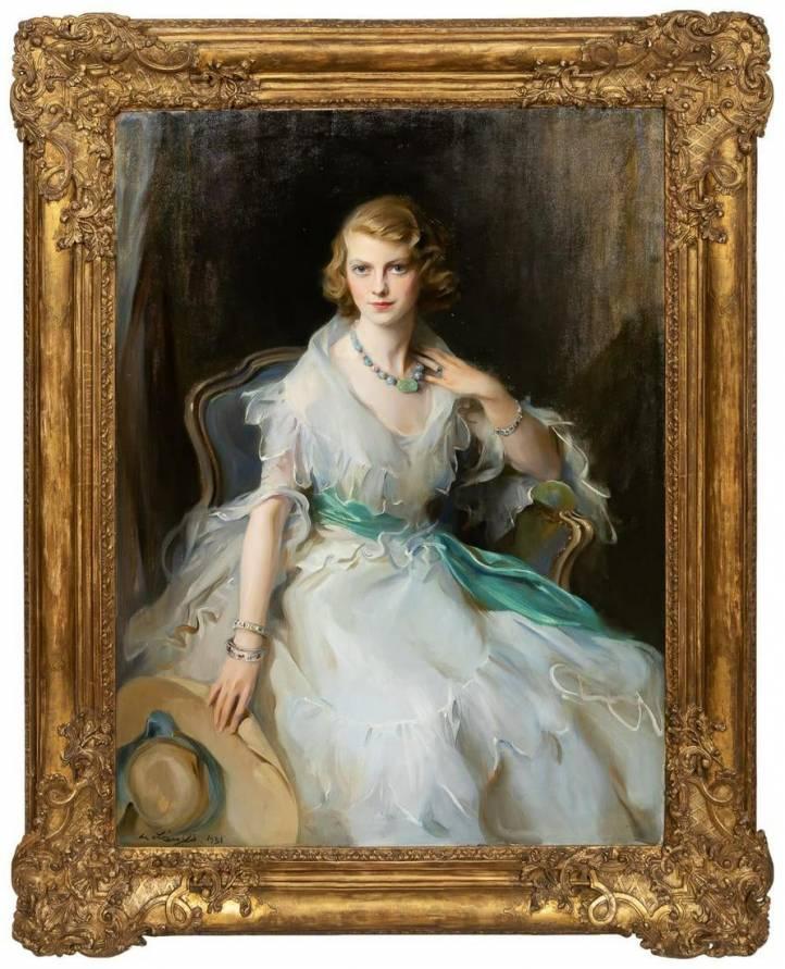 Oil portrait of Oonagh Guinness (1910-1995).