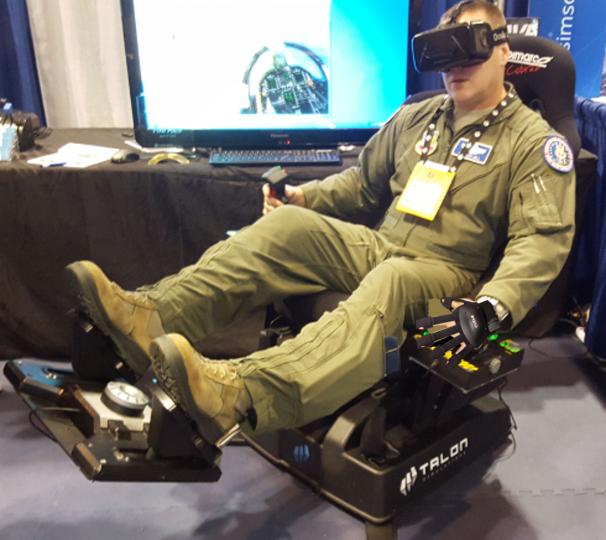Airman Using Haptic Gloves