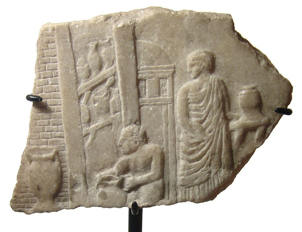 Roman marble relief depicting a potter's shop.