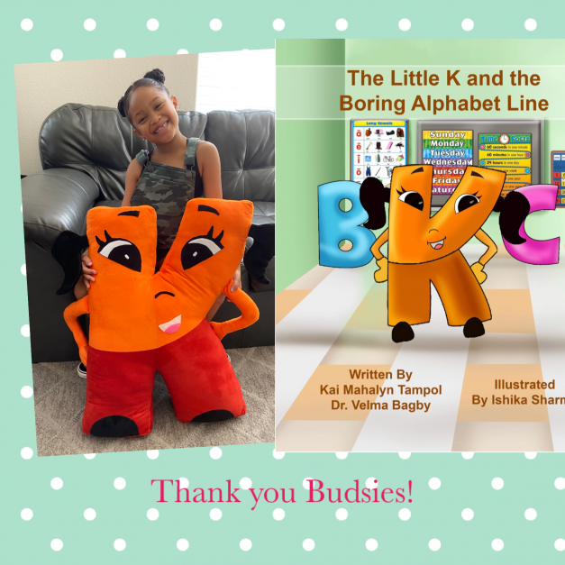 Kai and Budsies Stuffie of Letter k