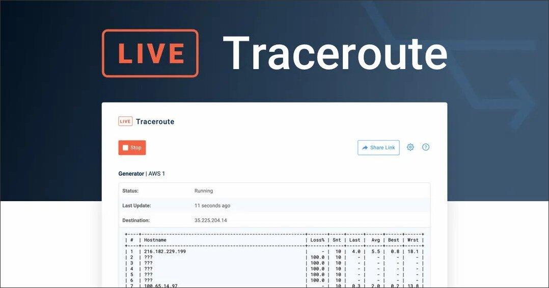 New Live Traceroutes Feature